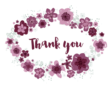 Thank you vector pink and burgundy editable floral wreath with touches of aquamarine blue on a white background.