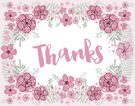 Thanks vector pink and burgundy florals with light aquamarine leaves editable flower wreath on a light pink background.