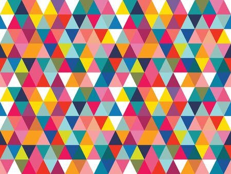 Vector colorful geometric shapes seamless pattern background. Perfect for textile design, fashion prints, paper backgrounds and print on demand products. Ilustración de vector