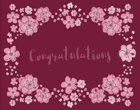 Congratulations vector floral wreath on burgundy Vector Illustratie