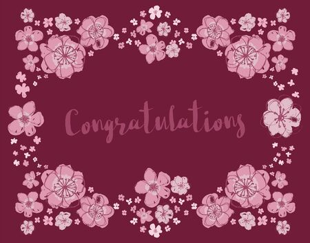 Congratulations vector floral wreath on burgundy