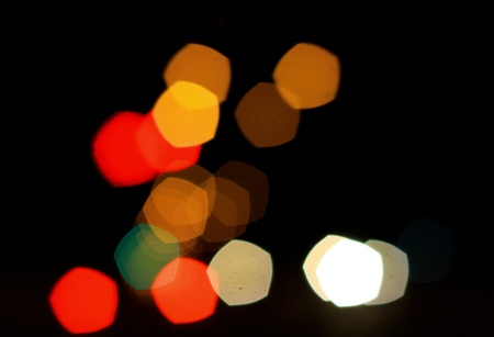 colorful bokeh background on the road photo