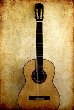 Classical guitar in retro grunge image background  photo