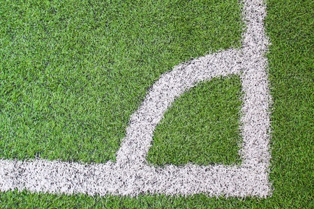 Football (soccer) field corner with white marks  photo