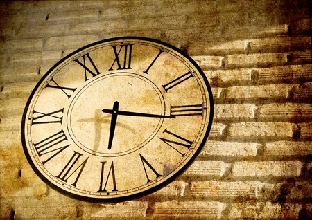 Vintage clock wall in grunge background Stock Photo - 8766845