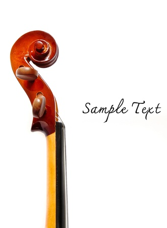 Details of violin head isolated photo