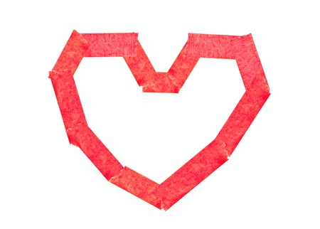 attach: Masking tape attach as heart Stock Photo