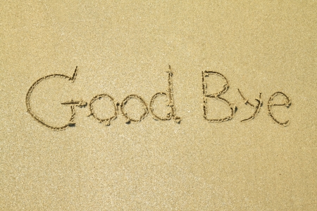 good bye: Goodbye written in the sand at the beach