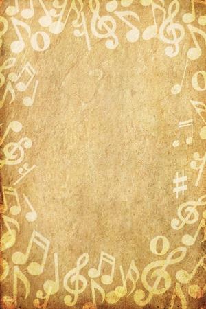 flyer musique: vieux grunge papier et musique note avec espace  Banque d'images
