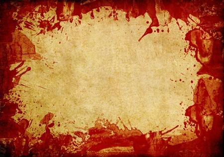 Antiguo fondo de papel con salpicaduras de sangre roja Foto de archivo - 9381616