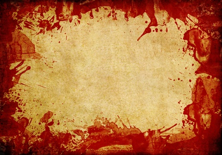 Old paper background with red blood splash Stock Photo - 9381616