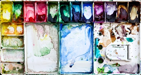 mixing: Painting palette box with dirty watercolor