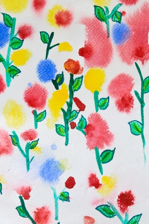 colorful flower watercolor for background photo