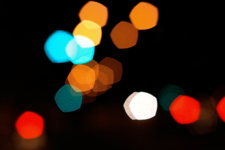colorful pentagon bokeh on the street  photo