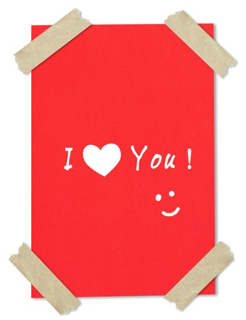 messageI love you writing on red paper stuck with brown tape  photo
