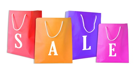 price cut: Sale shopping bags isolated Stock Photo