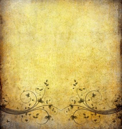 vintage envelope: antiguo fondo de papel de grunge con flor vintage y espacio