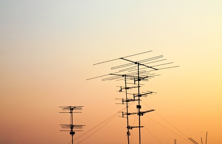 television satellite with sunset photo