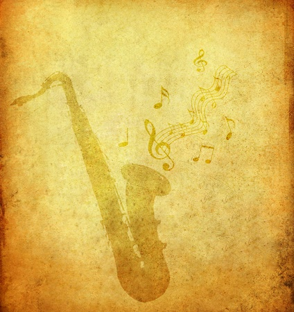 saxophone on old grunge paper photo