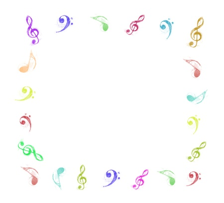 music score: colorful music notes frame on white background Stock Photo