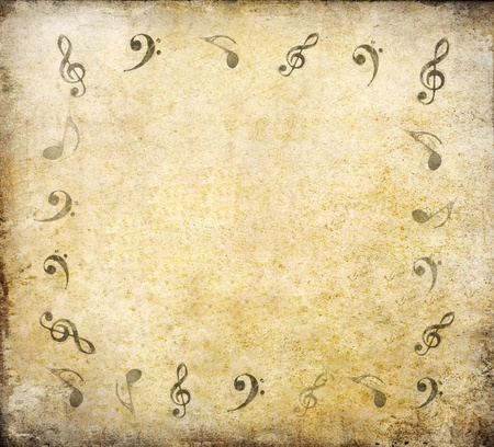 music notes on old paper sheet background with space photo