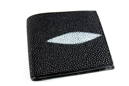 black wallet isolated on white photo