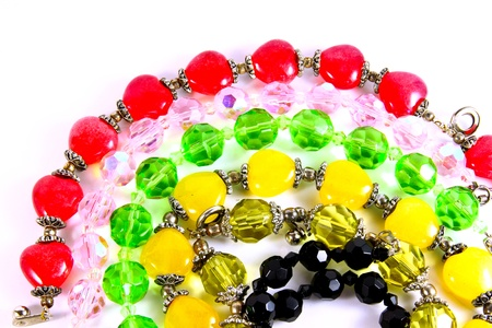 Various of colorful necklace crystal on white background Stock Photo - 9983090