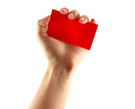 Womans hands holding red card isolated photo