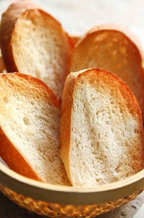 french bread: Sliced baguette on the basket