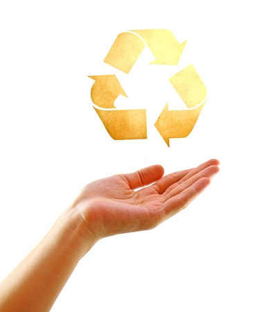 environmentalist tag: Eco concept : Hand with shape of recycle icon made by old paper Stock Photo