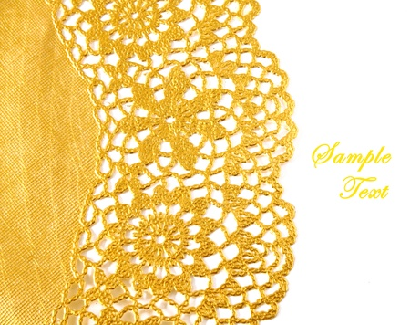 lace fabric: Golden textile border with copy space Stock Photo