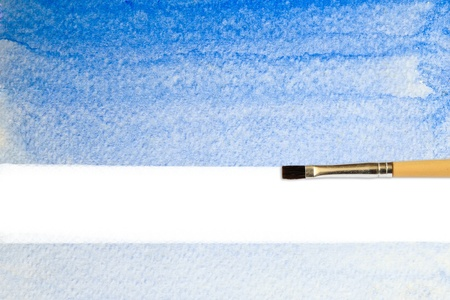 artists brush strokes watercolor painted with copy space photo
