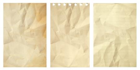 feuille froiss�e: Set de papier froiss� grunge vieux isol� sur fond blanc Banque d'images