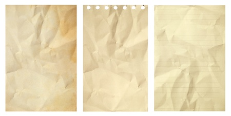 Set of old grunge crumpled paper isolated on white background