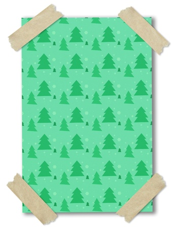 seamless pattern of christmas tree on paper stuck with brown tape photo