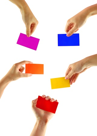 Collection of woman's hand with colorful card isolated on white Stock Photo - 10316296