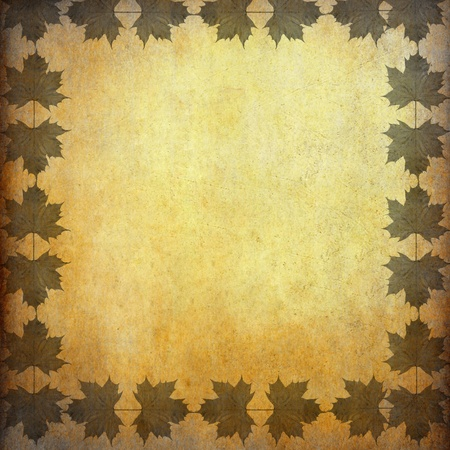 Grunge paper with leaf frame and space photo