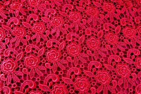 hilo rojo: Detalle de tela de patr�n de encaje rojo