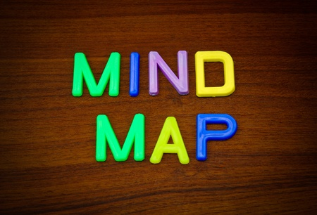 mind map: Mind map in colorful toy letters on wood background Stock Photo