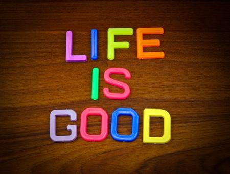 comida rica: La vida es buena en las cartas de juguete de colores sobre fondo de madera Foto de archivo