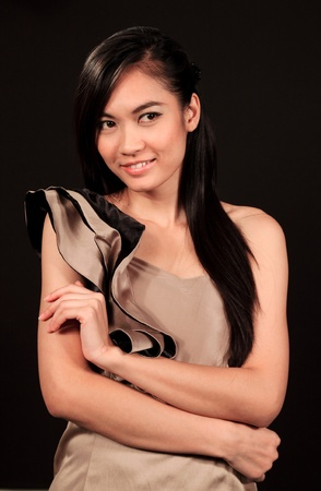 Beautiful asian woman with black background Stock Photo - 10697180