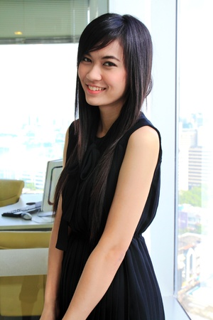 A pretty asian business woman in the office photo