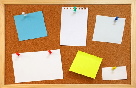 pin board: Blank notes with colorful push pins on framed cork board