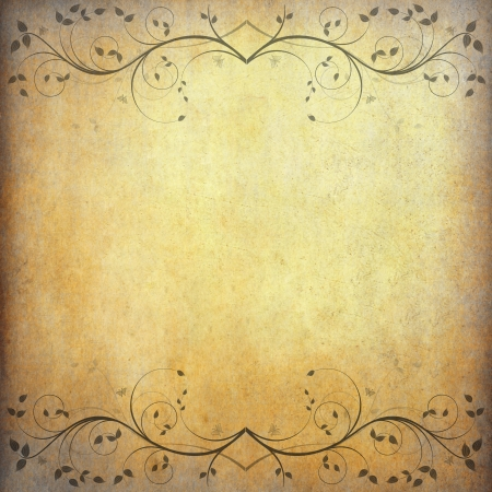 old grunge paper background with vintage flower and space Stock Photo - 10870644