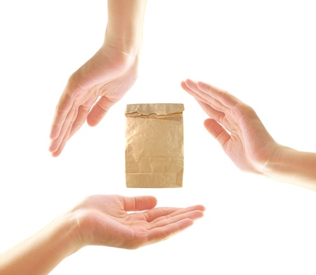 Female hands with paper bag in recycle concept  photo