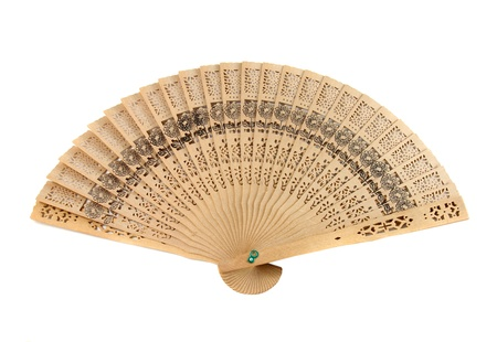 Chinese folding fan isolated on white background photo