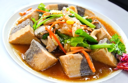 healthy food with tofu and vegetable photo