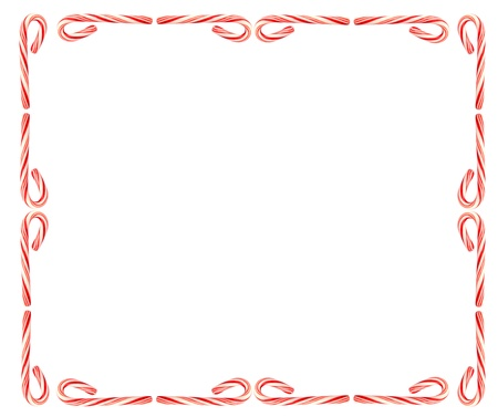Frame of christmas candy cane isolated on white background