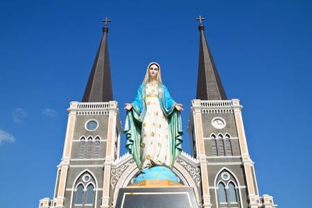maria: Virgin mary statue at catholic church, Chantaburi province, Thailand