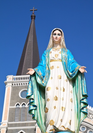 Virgin mary statue at catholic church, Chantaburi province, Thailand photo